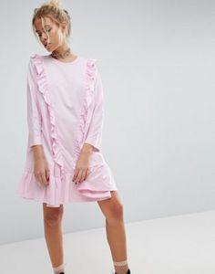 Хлопковое платье с присборенной юбкой и оборками ASOS