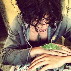 Ezra Miller and a luna moth
