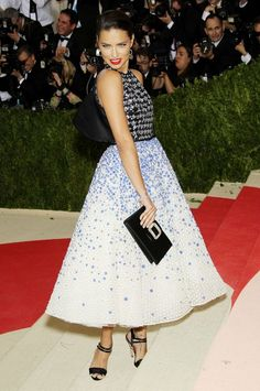 Adriana Lima Met Gala 2016 Adriana Lima in Valli Opting for a classic look, the model donned a chic fit and flare midi by Giambattista Valli.
