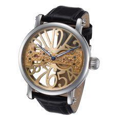 Rougois Gold Tone Dial Skeleton Face Watch with Bridge Mechanical Movement #skeletonwatch #menswatch #mensfashion