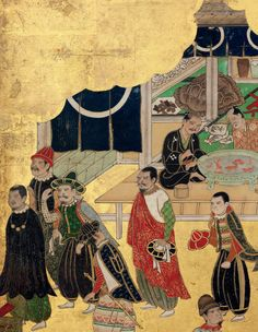 Detail. Edo Period [17thC Japan]. six-fold screen depicting the arrival of a Portuguese trading ship.