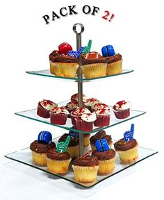Amazon.com | Imperial Home Stylish Glass Cupcake Stand - 3 Tier Desert / Cake Stand Party Display: Cake Carriers: Cupcake Stands