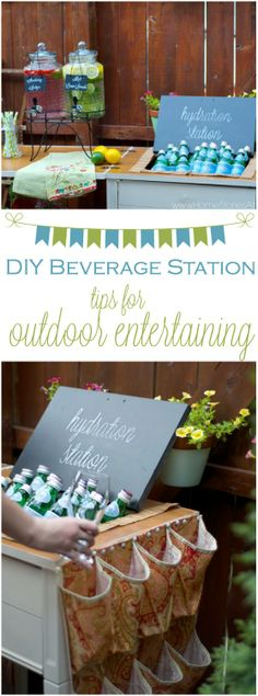 Make a temporary outdoor beverage center using furniture you already have. Tips on how to do it when you click the picture. #celebrate #entertain #parties