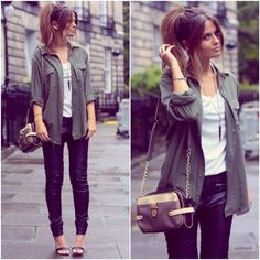 "I love this casual, loose look with the #military shirt and ""up hair"". I find its contrast to the #skinny #jeans and heeled sandals just fantastic."