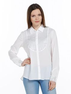 Ekru Çıtçıtlı Gömlek-Bluz