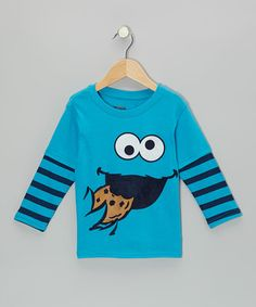 Take a look at this Blue Stripe Cookie Monster Layered Tee - Toddler by Sesame Street on #zulily today!