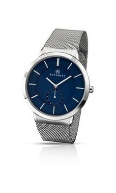 Accurist Gents milanese bracelet watch with blue dial- at Debenhams.com