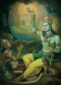 Krishna speaks the Bhagavad Gita to Arjuna