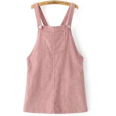 Pink Corduroy Overall Dress With Pocket (17.030 CRC) ❤ liked on Polyvore featuring dresses, overalls, pink day dress, pink dress, pocket dresses, corduroy dresses and pink red dress