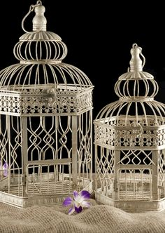 "Wedding Birdcages Cream White Hexagon (set of two) 18"" & 14"""