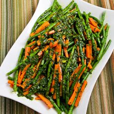 Recipe for Steamed Green Beans and Carrots with Charmoula Sauce Recipe