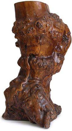 Large Antique Chinese Free Form Burl Root Wood Scholar Brush Pot