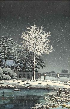 Snow on Sumida River, woodblock print, by Tsuchiya Koitsu, 1934 -- See also at: http://leakstev.blogspot.fr/2009/12/well-of-dreams.html