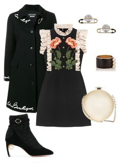 """Fall 2017 Evening Look 3 - Outfit Only"" by asuitcaseheart ❤ liked on Polyvore featuring Vivienne Westwood, Boutique Moschino, Maison Mayle, Nicholas Kirkwood, Gucci, Chanel, Boots, pearls, evening and embroidery"
