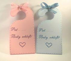 "Türhänger / Klinkenhänger aus Holz in rosa oder hellblau ""Pssst...Baby Schläft!"""