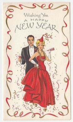 Christmas time and a Happy New Year Vintage Happy New Year, Happy New Year Cards, New Year Greeting Cards, Happy New Year 2019, New Year Greetings, Vintage Greeting Cards, Vintage Postcards, Christmas Ad, Vintage Christmas Cards