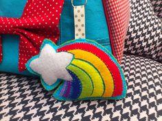 Custom Felt Rainbow Keychain from Felt, Cotton and Whimsy. www.facebook.com/feltcottonandwhimsy