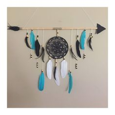 This Tribal wall hanging features a dreamcatcher with aqua, black and white feathers. this arrow Dreamcatcher is perfect for a childrens nursery, children's room or tribal boho chic or boho style theme. Dream Catcher For Kids, Dream Catcher White, Feather Dream Catcher, Dream Catcher Boho, Dream Catchers, Arrow Nursery, Tribal Nursery, Tribal Theme, Boho Theme