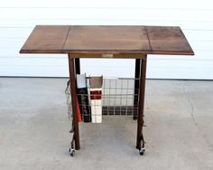 Hi Lo Typewriter Table / Vintage Wood Typing Table / Industrial Decor Wood  And Metal Typewriter