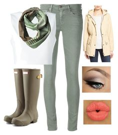 """It's raining and sleeting today."" by bamagalhgf on Polyvore featuring Barbour, AG Adriano Goldschmied, Alice + Olivia, Lieke Van Opstal and Hunter"