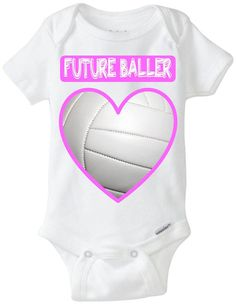 Future Baller - Volleyball Heart Baby Onesie in Pink!  Funny Baby Girl Gift, great for Sport Loving / Volleyball Loving new parents! Personalize by adding baby's name!  Now available in Preemie Sizes!  Available Here: www.etsy.com/shop/LittleFroggySurfShop