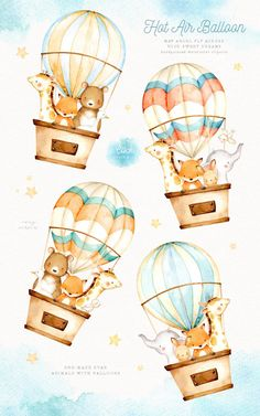 ad: Hot Air Balloon Watercolor Clipart by everysunsun on Ballon Illustration, Cute Illustration, Animals Watercolor, Elephant Watercolor, Watercolor Texture, Woodland Animals, Forest Animals, Nursery Art, Disney Drawings