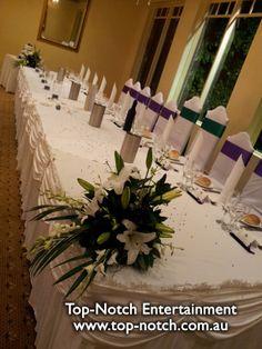 Wedding table place setting at the Tatra, Mount Dandenong, Victoria.  www.top-notch.com.au  www.facebook.com/WeddingDJTopNotch