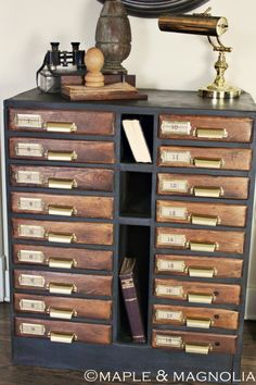 Dear lord I love this watchmaker's cabinet. Maple and Magnolia did an amazing job! Rococo Furniture, Pallet Furniture, Vintage Furniture, Painted Furniture, Home Furniture, Small Drawer Organizer, Rustic Valances, How To Lay Carpet, Old Cribs