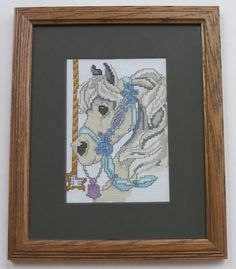 Carousel Horse - Cross stitch matted and frame