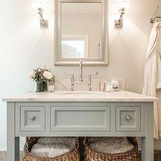 Blue Gray Vanity with Shelf