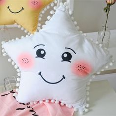 Celestial Series Decor Pillows You want the stars and the sun and moon to be your kids friends. Pick these soft comfy pillows for their rooms Perfect Sold separately. Cute Pillows, Baby Pillows, Kids Pillows, Sofa Pillows, Throw Pillows, Decor Pillows, Plush Pillow, Baby Bedding, Moon Pillow