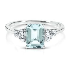 Aquamarine & White Sapphire Ring, love this design, slightly larger rock though and nothing lab created