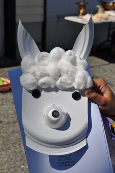 Alpaca from Peru craft - chinet paper plate, white egg carton for snout,cotton balls,  black buttons for eyes/nose (would be cuter to let them draw them).
