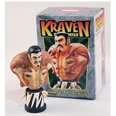 """Kraven The Hunter Mini Bust by Bowen Designs by Bowen Designs. $39.99. Stands of 5 inches tall.. Comes in its own full color collectors box.. A famous big game hunter, Kraven had successfully tracked every animal on the planet, but was unable to catch Spider-Man despite his unnatural strength and unbreakable grip. Depicted with his trademark clothing, this 5"""" mini-bust was designed by Randy Bowen and sculpted by Thomas Kurtz. Painted and ready to display."""