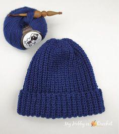 Fisherman's Rib Crochet Hat Beanie Knitting Patterns Free, Crochet Baby Hat Patterns, Crochet Stitches Patterns, Crochet Baby Hats, Crochet Clothes, Knitted Hats, Crochet Ideas, Ribbed Crochet, Crochet Men