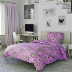 Krepové povlečení fialové růžové zelené ornament orient mandala květiny mozaika rozeta Comforters, Blanket, Bed, Furniture, Home Decor, Creature Comforts, Quilts, Decoration Home, Stream Bed