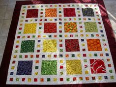 Simple but effective quilt using food fabrics Finely Finished Quilts