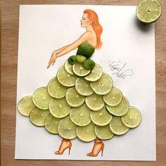 Dress made of limes by Edgar Artis