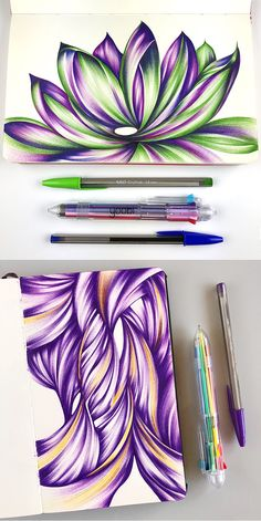 Ballpoint drawings by Jennifer Johansson made with a Yoobi 8-in-one pen. Click through to see more ballpoint pen drawing goodness!