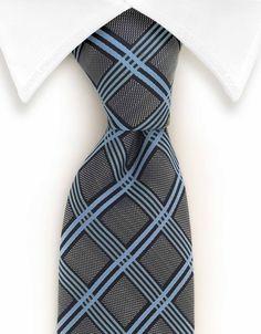 Light Blue Checkered Necktie