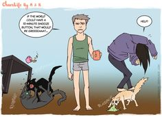 Cat Cartoons|Dawn Duties|Chaos Life depicts what it is like in the morning for cat lovers|Source:chaoslife.findchaos.com--My goodness, I can so relate with this cartoon...lol.
