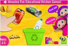EduKitchen app supports eco awareness and healthy eating habits. Click picture to see video review of app in action via www.pre-kpages.com #app #preschool