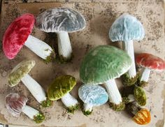 Silk Velvet Mushroom Decorations Set of 3 by juliecollings - I need a bowlful