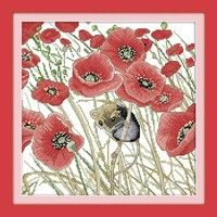Wish | DIY Handmade Needlework Counted Cross Stitch Set Embroidery Kit 14CT Poppies and Mouse Pattern Cross-Stitching 35 * 35cm Home Decoration
