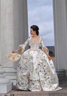 Before the Automobile: Hand painted robe à la Française, late 1750's to early 1770's