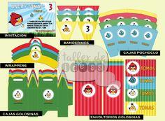 Cumpleaños Tomás - Temática Angry Birds - Diseño de invitación, varios motivos de caja pochoclera y caja golosinera, envoltorios para golosinas, banderines y wrappers.