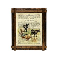 Cows on Psalm 1 printable wall art. Farmhouse art set of four farm animals vintage drawings sized 8x10 on original vintage old bible pages. Printable wall art in country style. Give a nostalgic atmosphere to your decor. Perfect print for farmhouse decor, country western decor, rustic decor, nursery decor and vintage decor.  Easy, cheap and beautiful way to decor…