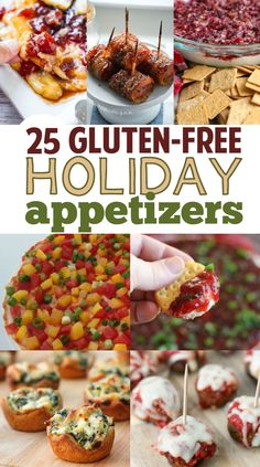 Over 25 Gluten-Free Holiday Appetizers Now is the time to start planning for your holiday parties with holiday gluten-free healthy appetizers for Thanksgiving, Christmas and New Years! Thanksgiving Appetizers, Holiday Appetizers, Healthy Appetizers, Appetizer Recipes, Holiday Parties, Party Appetizers, Party Snacks, Appetizer Ideas, Holiday Ideas