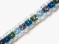 Swarovski Crystal Bracelet, Seed Bead, Right Angle Weave, Green, Blue, Clear, Springtime, Tanzanite, Aquamarine, Carribean Blue Opal, RAW