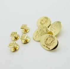 Set 9 carat yellow gold cufflinks with dress shirt studs Mens Jewellery, Bespoke Jewellery, Dress Shirt, Create Yourself, Studs, Cufflinks, Brooch, Jewels, Personalized Items